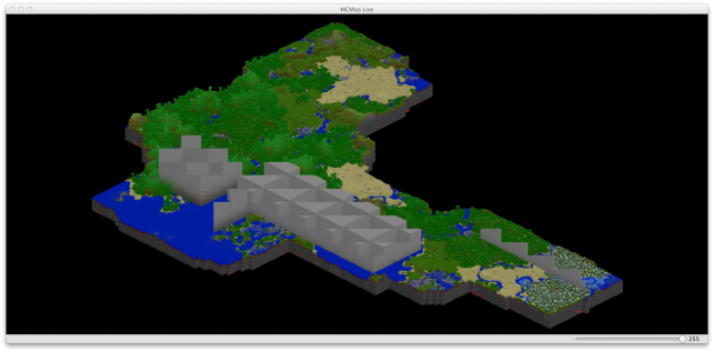 MCMap Live Shot For Perspective (the jagged tops are an artifact of the rendering software).